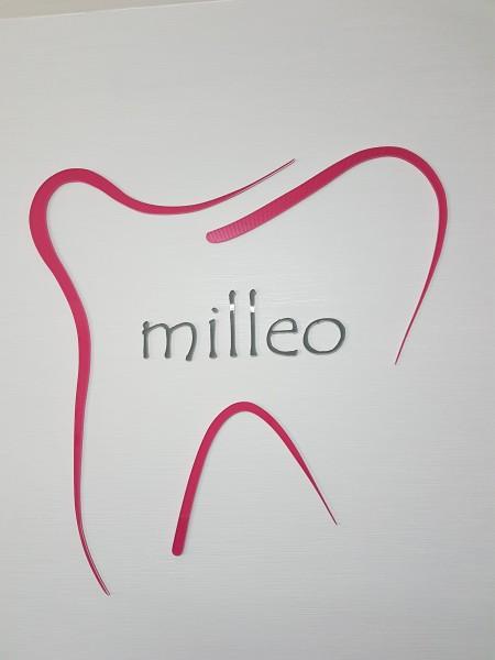 3D Acryl Logo MILLEO (8mm transparent) direkt auf die Wand geklebt